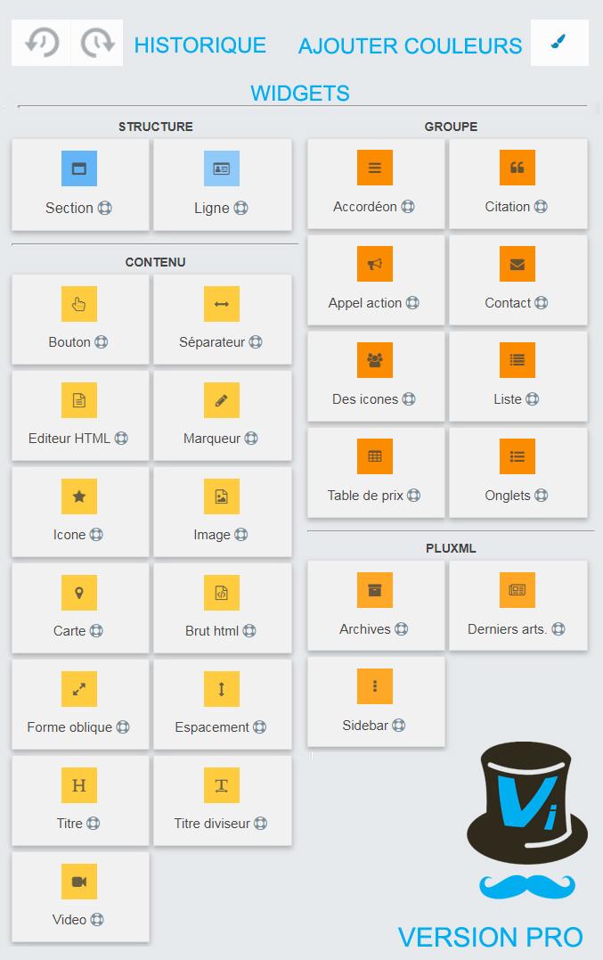 widgets historique couleurs visualwizard pro